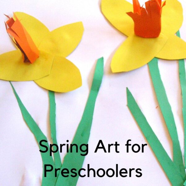 3d spring daffodil art project completed by a preschooler