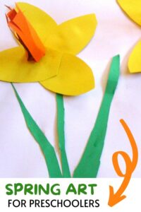 Pinterest image of spring art project for preschoolers a 3D daffodil