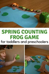 pinterest image for a spring counting frogs game for toddlers and preschoolers from rainy day mum