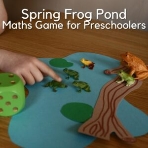 child's hand pointing at toy frogs on a paper pond with a dice beside text above reads Spring Frog Pond Maths Game for Preschoolers