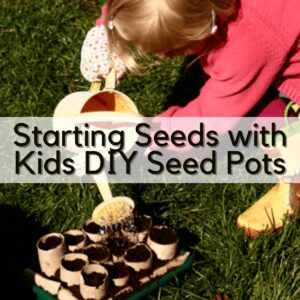 child watering a tray with cardboard tub seed pots in filled with compost on the lawn text overlay reading Starting seeds with kids DIY Seed Pots