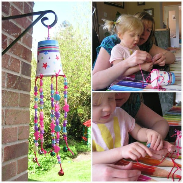 A simple craft to make a garden wind chime from a drinks cup and craft cupboard supplies. An ideal craft project for toddlers and preschoolers.