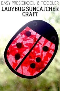Easy ladybug craft for toddlers and preschoolers to make a pretty suncatcher for the window