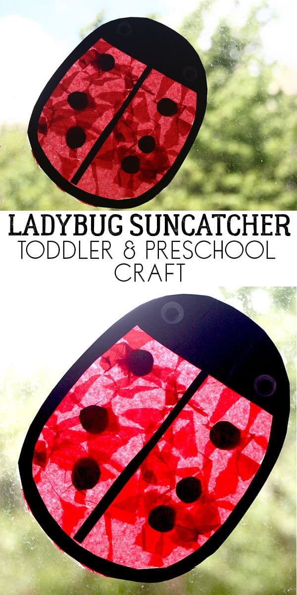 An easy and simple fun preschool craft for kids to make a Ladybug Sun Catcher great to match with Yoo Hoo Ladybug by Mem Fox.