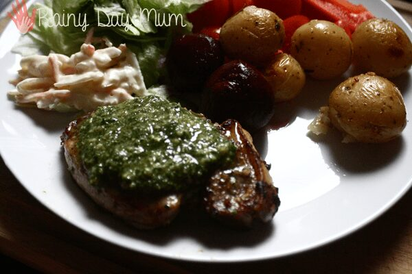 Grilled pork with a basil and pine nut crust recipe