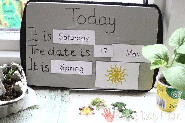 Calendar for preschoolers for you to create to learn days, dates, seasons and weather at home