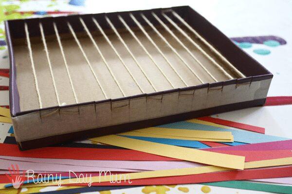 Paper Snake Weaving with DIY shoe box loom