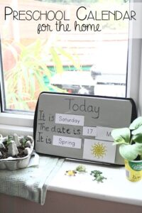 Preschool Calendar for the home