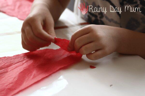 Tearing Tissue Paper great fine motor skills