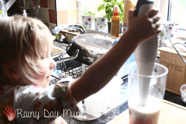 Fat Free Strawberry Ice-cream pops for kids to make