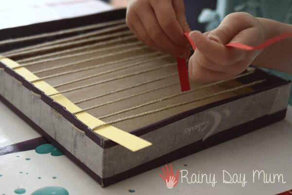 Paper Snake Weaving with DIY shoe box loom