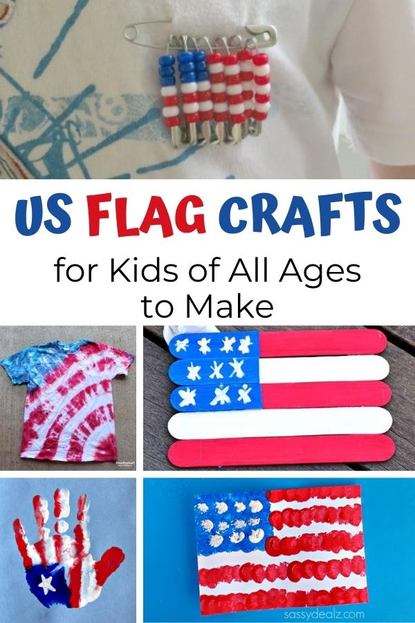 Pinterest collage image for US Flag Crafts for Kids of All Ages to Make includes a bead pin, t-shirt, popsicle craft, handprint picture and art project