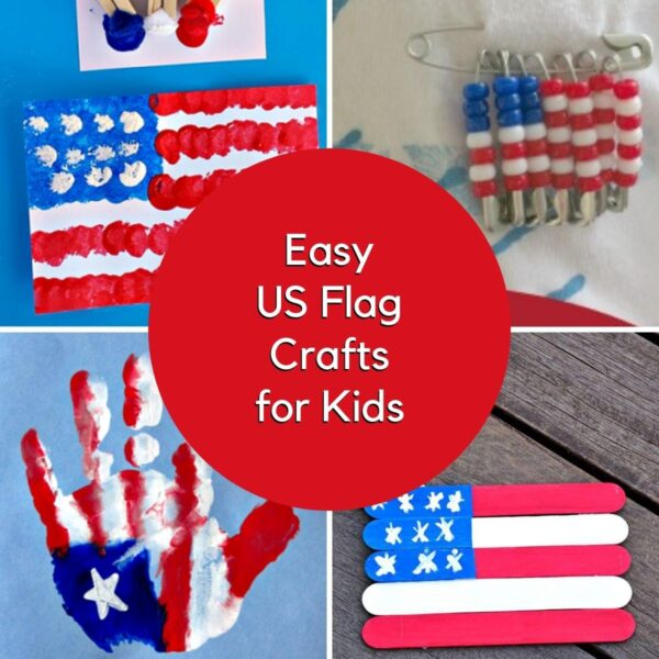 Collage of 4 simple US flag crafts for kids to make, a pom pom printed one, beaded pin craft, handprint flag craft and a popsicle stick flag craft