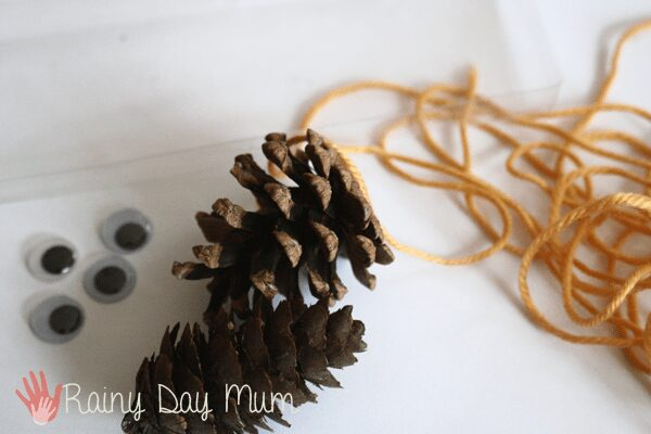 Pine Cone Bumble Bees - creative nature crafting for kids