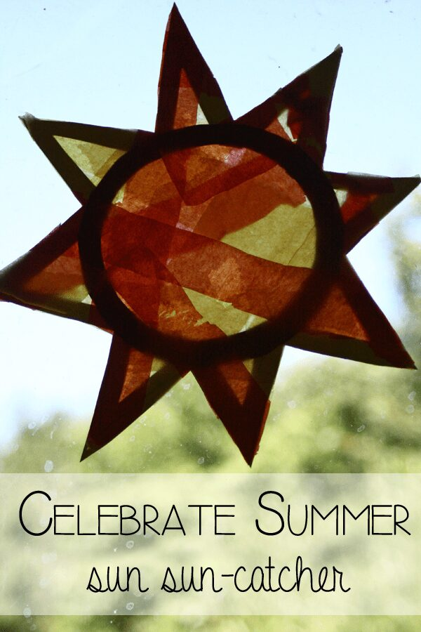 Celebrate Summer by creating a sun shaped sun catcher - perfect for Summer Solstice