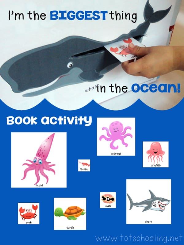 I'm the Biggest Thing in the Ocean Free Printables with lesson plan to bring the story to life and talk to children about sizes as they retell the story.