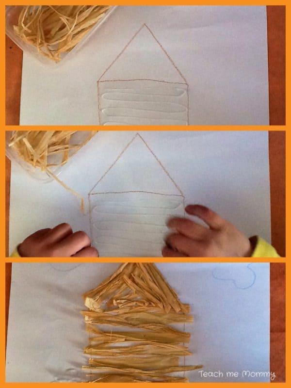 straw house for the three little pigs craft activity step by step pictures