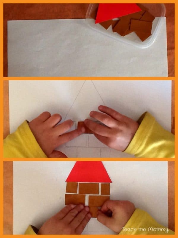 simple brick house for the three little pigs with step by step picture guide for preschoolers to make