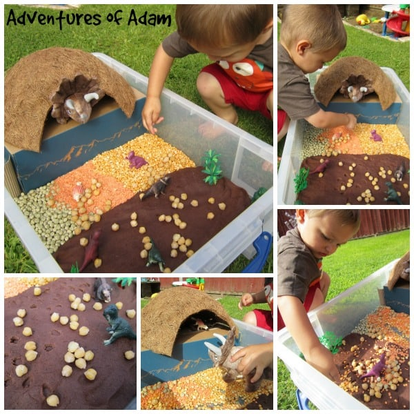 Making a dinosaur sensory Bin - bringing alive Three Little Dinosaurs as part of Story Book Summer on Rainy Day Mum
