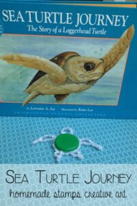 Sea Turtle Journey - bringing the book alive through creative stamping using homemade stamps as part of Story Book Summer on Rainy Day Mum