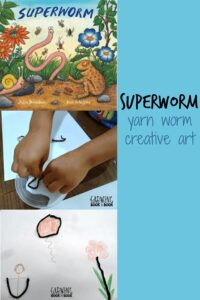 Superworm - creative art with yarn bring the book alive as part of Story Book Summer on Rainy Day Mum