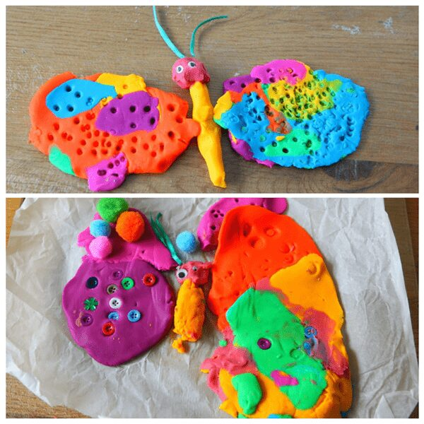 play dough creations inspired by the book The Very Hungry Caterpillar with an invitation to play for preschoolers