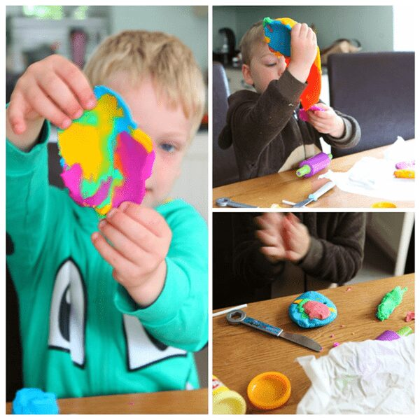 creating very hungry caterpillar inspired beautiful butterflies out of colourful playdough