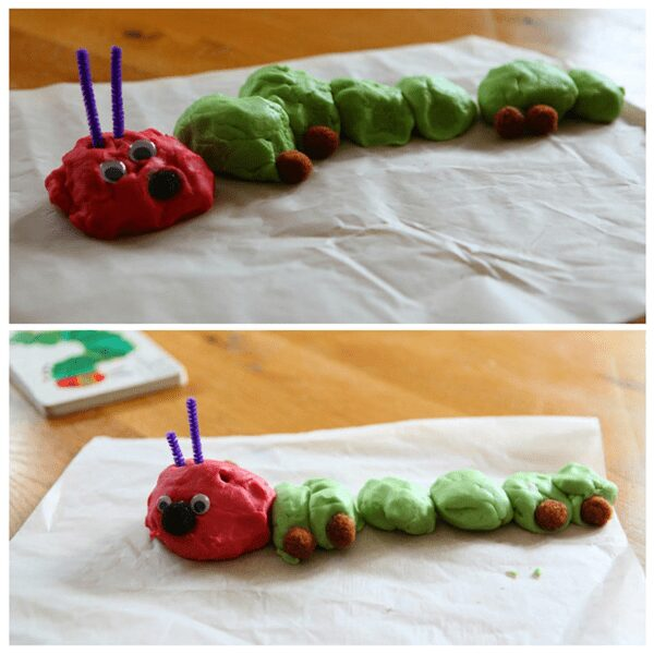 Invitation to play with play dough based on the book The Very Hungry Caterpillar