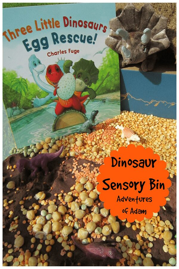 a sensory bin set up with lentils, playdough and toy dinosaurs with the book Three Little Dinosaurs Egg Rescue by Charles Fuge and a toy dinosaur behind text on the overlay reads Dinosaur Sensory Bin Adventures of Adam