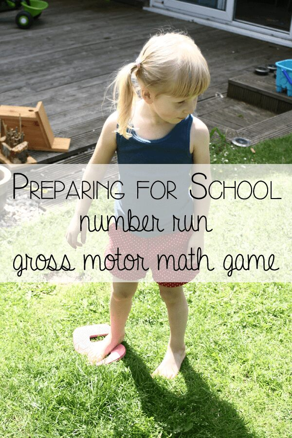 Preparing for school - number run a gross motor math game for kids to review math skills before starting school as part of getting ready for K through play