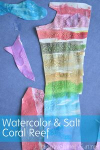 Watercolor and Salt Reef bring alive One Small Square:A Coral Reef for kids