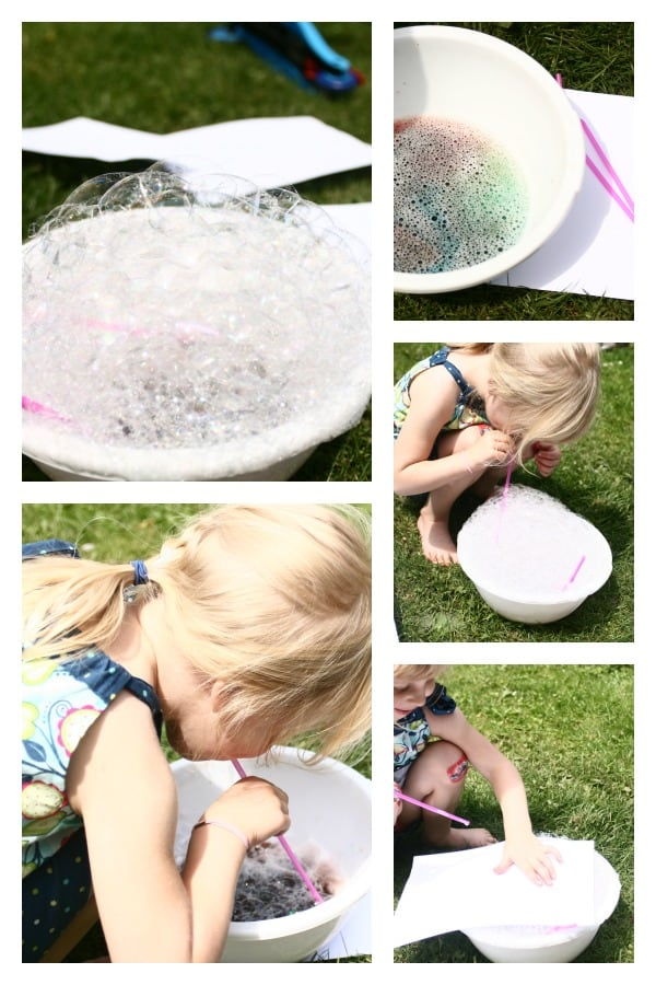 Summer Art Fun - making bubble prints in the garden