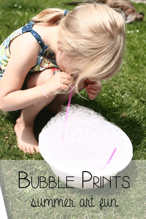 Summer Art Fun - making bubble prints in the garden