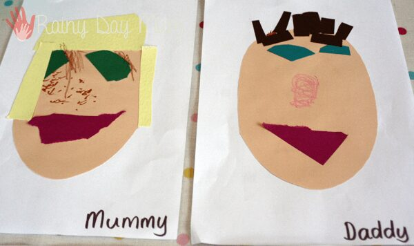 family portraits created by a preschooler of mummy and daddy