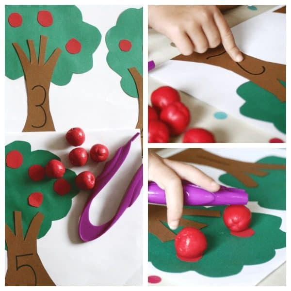 Easy prep apple themed activities for toddlers and preschoolers working on basic number sense and fine motor skills