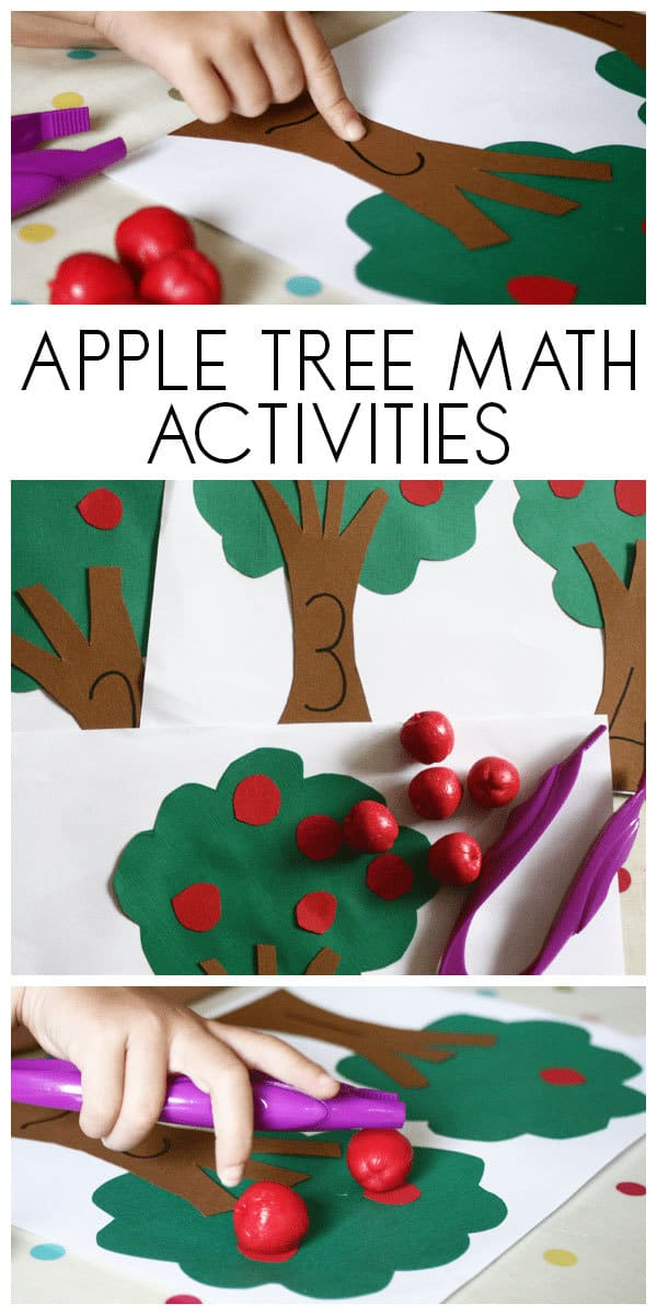 Apple Maths Activities for Toddlers and Preschoolers working on counting, 1 to 1 correspondence, number recognition and fine motor skills.