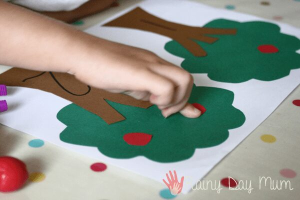 adding apples to the trees to count with