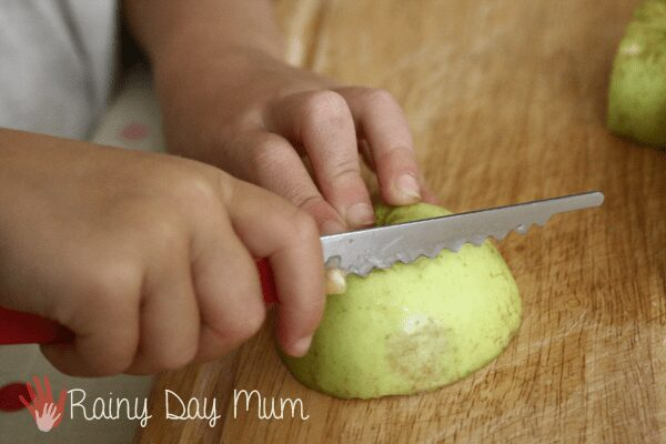 Teach practical life skills with windfall apples - practising using a knife