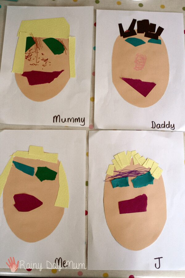 collection of family portraits created by a preschooler including a self portrait and those of other family members