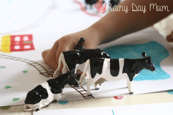 Farm themed math activity for preschooler - farmyard animal count and add