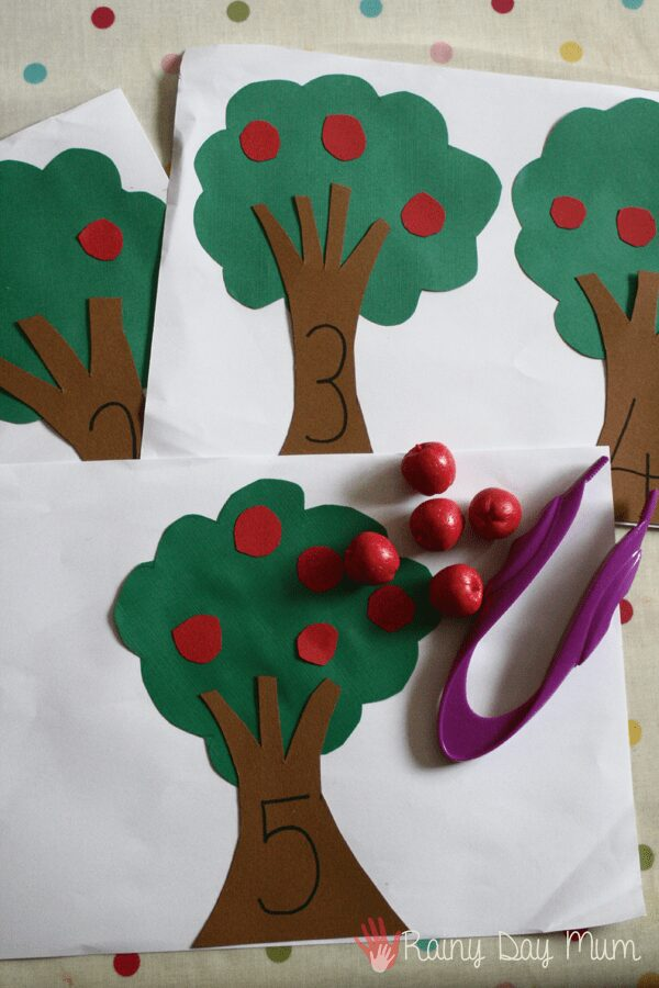 Apple tree maths activity invitation to learn