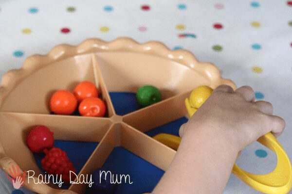 The learning resources sorting pie - excellent for working on fine motor skills and early years maths in hands on play
