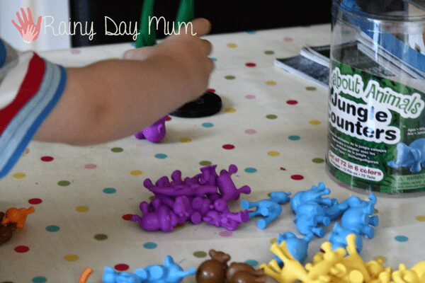 Combining counters and tools for fine motor development and math revision