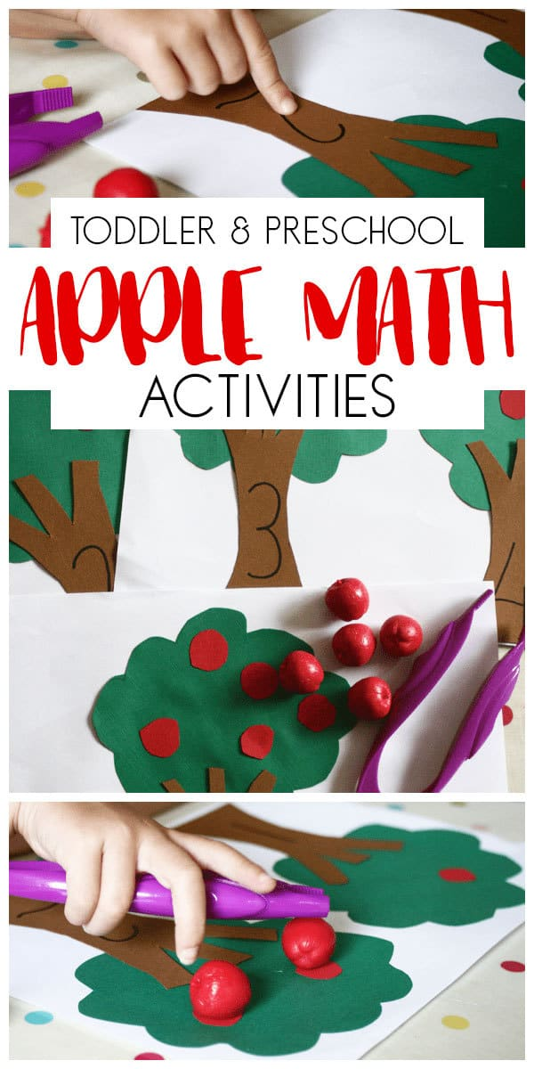 Apple week Activities for Toddlers and Preschoolers featuring this apple tree math activity with number recognition, counting and fine motor skills.