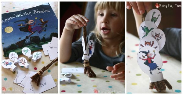 room on the broom themed maths activity for preschoolers to learn ordinal numbers