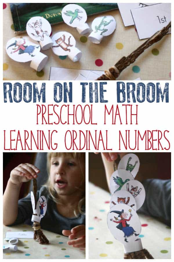 Help children to develop knowledge of Ordinal Numbers using the book Room on the Broom and some playful maths skills using finger puppets and a DIY Broom.