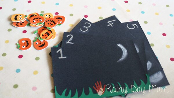 Halloween or fall inspired literacy and numeracy activity based on the Children's rhyme Five Little Pumpkins