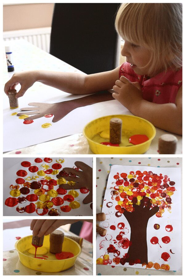 collage of the autumn craft for toddlers and preschoolers showing a little girl printing the leaves on the tree with a cork and the finnished project