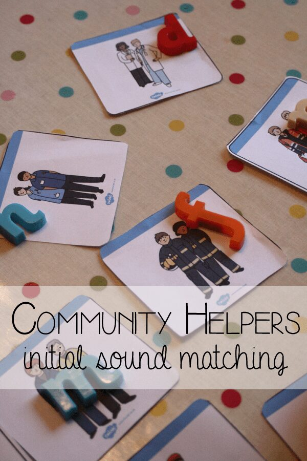 Match the community helper with the letter at the beginning of their name with this free printable activity for toddlers and preschoolers. Work on initial sound and letter recognition or use the community helper playing cards for a game of memory or snap!