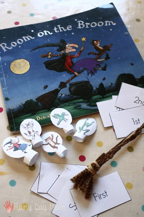 Room on the Broom - learning ordinal numbers and sequencing with finger puppets
